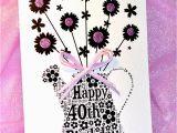 Happy 40th Birthday Flowers 40th Happy Birthday Flower Sparkle Card by Sew Very