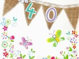 Happy 40th Birthday Flowers Bunting and butterflies 40th Birthday Card Karenza Paperie