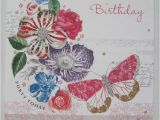 Happy 40th Birthday Flowers Pretty Glitter Coated Flowers butterfly Happy 40th