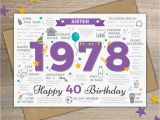 Happy 40th Birthday Quotes for Sister 1978 Sister Happy 40th Birthday Birth Year Memories Facts