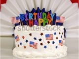 Happy 4th Birthday Banner Images American Patriotic themed Birthday Cake Happy Stock Photo
