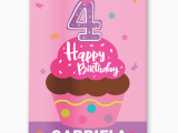 Happy 4th Birthday Banner Images Happy 4th Birthday Personalized Pink Cupcake Girls