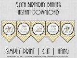 Happy 50th Birthday Banner Printable Free 50th Birthday Banner Chevron Black and Gold by