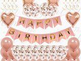 Happy 50th Birthday Banner Rose Gold 21st Birthday Decorations Amazon Co Uk