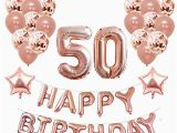 Happy 50th Birthday Banner Rose Gold 50th Birthday Decorations Amazon Co Uk