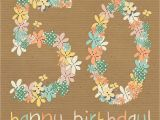 Happy 50th Birthday Flowers Floral 50th Happy Birthday Card Karenza Paperie