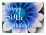 Happy 50th Birthday Flowers Happy 50th Birthday with Magic Blue Flower Card Zazzle