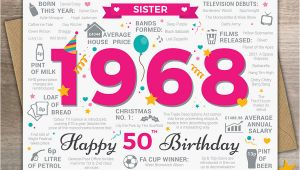 Happy 50th Birthday Sister Card 1968 Sister Happy 50th Birthday Card