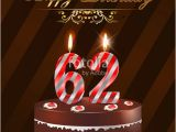 Happy 62nd Birthday Cards Quot 62 Year Happy Birthday Card with Cake and Candles 62nd