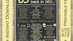 Happy 65th Birthday Meme 65th Birthday for Her 65th Birthday Sign Back In 1952 Happy