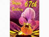 Happy 67th Birthday Cards Happy 67th Birthday Flower Pansy Card Zazzle