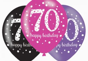 Happy 70th Birthday Decorations 6 X Balloons Black Pink Lilac Party