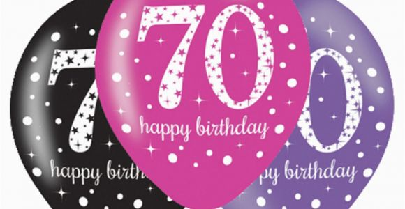 Happy 70th Birthday Decorations 6 X 70th Birthday Balloons Black Pink Lilac Party