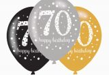 Happy 70th Birthday Decorations 6 X 70th Birthday Balloons Black Silver Gold Party