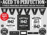 Happy 75th Birthday Banners Aged to Perfection Birthday Decor 75th Birthday by