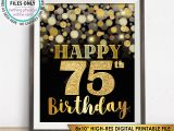 Happy 75th Birthday Cards 75th Birthday Sign Happy Birthday 75 Golden Birthday