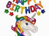 Happy 7th Birthday Banner Clipart Happy Birthday Letter with Rainbow Unicorn Foil Balloons