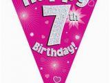 Happy 7th Birthday Banners Pink Happy 7th Birthday Holographic Flag Banner