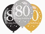 Happy 80th Birthday Decorations 6 X 80th Birthday Balloons Black Silver Gold Party