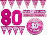 Happy 80th Birthday Decorations Pink Age 80 Happy 80th Birthday Party Decorations Female