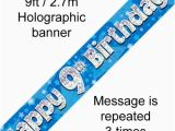 Happy 9th Birthday Banners Blue Holographic Happy 9th Birthday Banner 2 7m P1