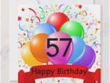 Happy Birthday Balloon Banner asda 57th Birthday Cards Zazzle Ca