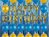 Happy Birthday Balloon Banner Blue Amazon Com Happy Birthday Balloons Party Decoration
