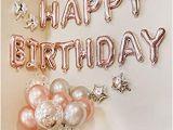 Happy Birthday Balloon Banner Gold Amazon Com Balloonpop Rose Gold Happy Birthday Balloon