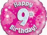 Happy Birthday Balloon Banner Uk Pink Age 9 Girls Happy 9th Birthday Banner Balloons