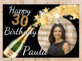 Happy Birthday Banner 60s Personalised Champagne Starburst Happy Birthday Photo