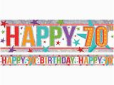 Happy Birthday Banner 70th Holographic Happy 70th Birthday Multi Coloured Foil Banner