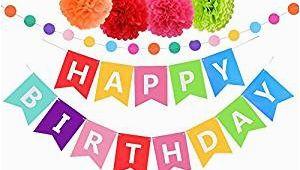 Happy Birthday Banner Amazon Prime Amazon Com Upower Birthday Decorations Rainbow Happy