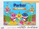 Happy Birthday Banner Baby Shark Baby Shark Backdrop Editable Pdf Printable Backdrop Baby