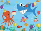 Happy Birthday Banner Baby Shark Baby Shark Under the Sea themed Birthday Backdrop Banner