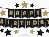 Happy Birthday Banner Black and Gold Happy Birthday Bunting Banner Printable Decoration Black and