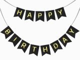 Happy Birthday Banner Black and Gold Happy Birthday Swallowtail Bunting Banner for Party