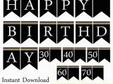 Happy Birthday Banner Black and Gold Instant Download Black Pearl Birthday Banner Printable Happy