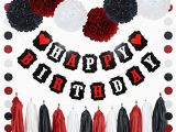 Happy Birthday Banner Black and Red Black and Red Birthday Decorations Amazon Com