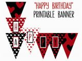 Happy Birthday Banner Black and Red Printable Happy Birthday Banner Birthday Party Printable