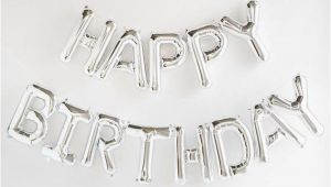 Happy Birthday Banner Black and Silver Happy Birthday Silver Letter Balloon Banner Garland