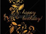 Happy Birthday Banner Black Background Gold Greeting Happy Birthday Card with Floral Element In