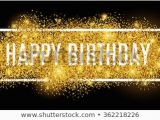 Happy Birthday Banner Black Background Gold Sparkles Background Happy Birthday Happy Stock Vector