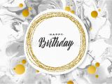 Happy Birthday Banner Black Background Happy Birthday Black Marble Texture Card Shimmer Golden