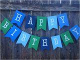Happy Birthday Banner Blue and Green Birthday Banner Boy Happy Birthday Banner Blue and Green