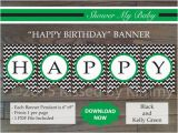 Happy Birthday Banner Blue and Green Black Kelly Green Happy Birthday Banner Printable Boy