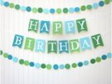Happy Birthday Banner Blue and Green Blue Birthday Banner Etsy