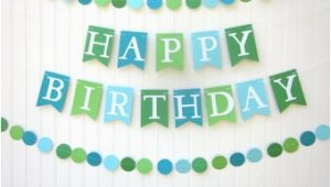 Happy Birthday Banner Blue and Green Blue Birthday Banner Etsy