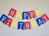 Happy Birthday Banner Blue and White Happy Birthday Banner In Red Yellow and Blue by