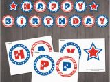 Happy Birthday Banner Blue and White Instant Download Patriotic Happy Birthday Banner Patriotic