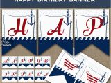 Happy Birthday Banner Blue and White Printable Happy Birthday Banner Red White Blue Nautical